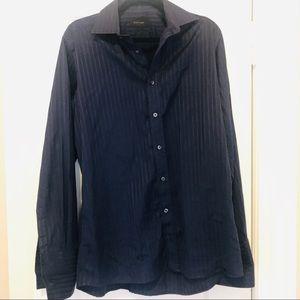 Duchamp Navy Blue Pin Striped Dress Shirt